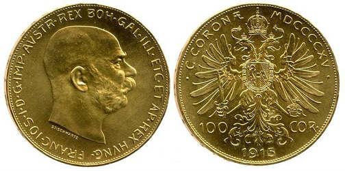 100 corone austriache d'oro